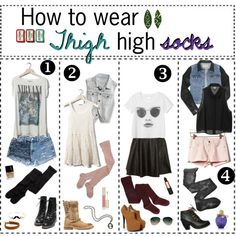 """How to wear Thigh High Socks"" by hipstertipsters on Polyvore"