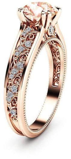 Etsy Morganite Vintage Engagement Ring Unique 14K Rose Gold Engagement Ring Diamond Morganite Vintage Rin #uniqueengagementrings