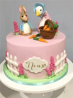Farm Birthday Cakes, Baby First Birthday Cake, Birthday Cake Girls, 2nd Birthday, Peter Rabbit Cake, Peter Rabbit Birthday, Peter Rabbit Party, Beatrix Potter Cake, Character Cakes