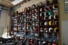 Yes, these are motorcycle helmets and not model cars. However, we love the idea…