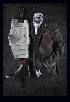 L.B.M. 1911 Exploded Houndstooth Wool/Cotton/Silk Jacket: $850 Zegna Merino Wool Cardigan: $635 Zegna Moleskin Cotton Pants: $350 Sand Gingham Shirt: $225 Bill Lavin Belt: $148 Boss Black Fur-Lined Boots: $395 Marcoliani Pattern Wool Socks: $28 Braemore Wool Pocket Square: $65