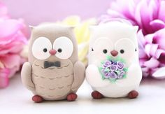 Owls wedding cake toppers - bride and groom personalized elegant love birds via Etsy