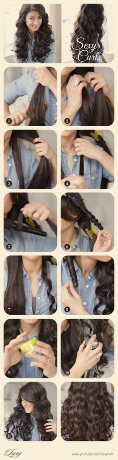 How to - Sexy Curls(Mermaid Hair Tutorial) Big Wavy Hair, Perfect Wavy Hair, Great Hair, Gorgeous Hair, Curly Hair, Perfect Curls, Thick Hair, Straight Hair, Curled Hairstyles
