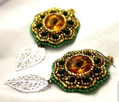 Купить Серьги зелено-золотые - тёмно-зелёный, золотой, зеленый, Янтарный, серебро, серебро 925