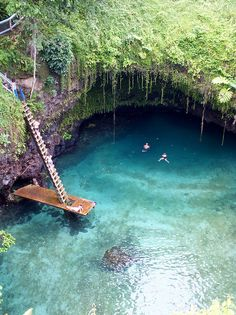 To Sua Ocean Trench, Samoa.... |On the island of Upolo, Samoa. This trench is filled with sea water through an underwater channel - a gorgeous place for a swim