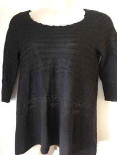 Size L Anthropologie YELLOW BIRD Black Enduring Lace Scoopneck Sweater Pullover - http://www.ebay.com/itm/222110095840?rmvSB=true