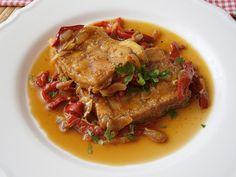 Rybí filé dušené na cibuli a paprice Ale, Pork, Meat, Red Peppers, Kale Stir Fry, Ale Beer, Pork Chops, Ales, Beer