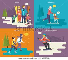 Family with kids concept flat icons set of winter sport such as skiing, ice skating, sledding and snowboarding Snowboarding, Skiing, Winter Breaks, Family Vector, Family Kids, Sled, Winter Sports, Ice Skating, Icon Set