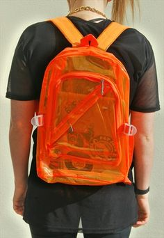 90's inspired brand new raver transparent plastic backpack with adjustable straps and seperate zip pocket. Bright Orange