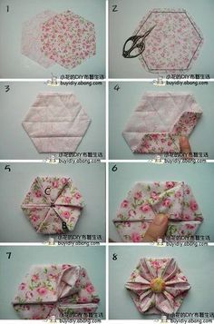 -origami fabric flowers                                                                                                                                                                                 More