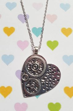 Steampunk heart necklace, Heart necklace, Pendant necklace, Heart pendant, Steampunk jewellery, Steampunk heart, Steampunk, Heart