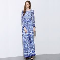 High Quality New Fashion 2015 Designer Runway Maxi Dress Women's Long Sleeve Blue and White Printed Celebrity Party Long Dress-in Dresses from Women's Clothing & Accessories on Aliexpress.com | Alibaba Group