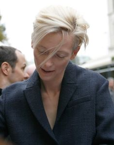 "Tilda Swinton: ""The other day, I was going through the airport security and I was searched by a male security guard. I'm very often referred to as ""Sir"" in elevators and such. I think it has to do with being this tall and not wearing much lipstick. I think people just can't imagine I'd be a woman if I look like this."" source: http://m.imdb.com/"