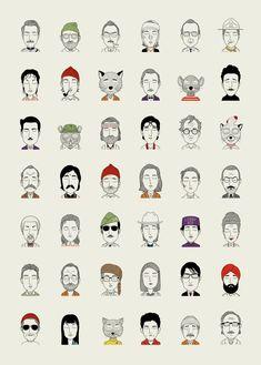 Ilustrações dos personagens de Wes Anderson