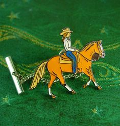 Equestrian Tie tack Girl on a Saddle with by NeatstuffAntiques