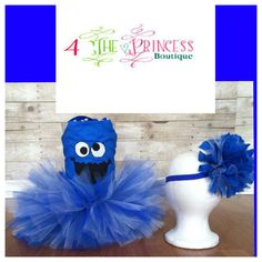 Blue monster tutu outfit, Cookie Monster, corset top, tutu, bow, tutu dress, Halloween, birthday, pageant, clothes, girls, toddler, on Etsy, $60.00