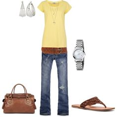 Cute, simple outfit for during the day. Is it bad that I like the sandals and purse more than the clothes?? lol
