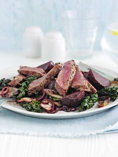 Steak with balsamic beets and chicory | @styleminimalism