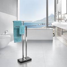 Shop Modern Bathroom Blomus Menoto Towel Rack - Stainless steel and other modern and contemporary home and office furniture. Browse our selection of Bath Accessories from Zuri Furniture. Towel Holder Bathroom, Bathroom Towels, Jacuzzi, Free Standing Towel Rail, All Modern, Modern Decor, Wall Mounted Towel Rail, Modern Bathroom Accessories, Bath Accessories