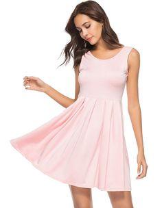 6e7bd57d210 Cute Pink White Solid Color U Back Summer Sleeveless Skater Dress