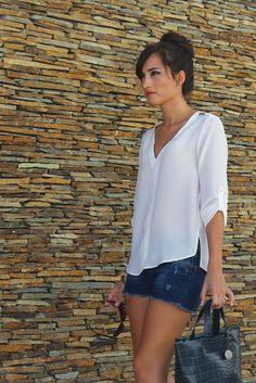 Spring / summer - street & chic style - beach look - white sheer blouse + denim shorts