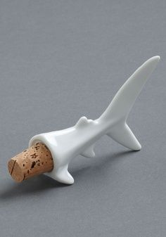 "Not that I need a wine stopper bc I always ""fin""ish the bottle but this is too cool. ""Fin-ish It Later"" shark wine stopper"