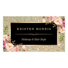 Gold Glitter Makeup Artist Hair Salon Floral Wrap Pack Of Standard Business Cards