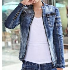 $40.82 Casual Style Slimming Long Sleeves Stand Collar Personality Zipper Embellished Men's Denim Coat