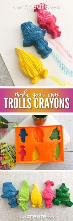 These Make Your Own Trolls Crayons are full of happiness and rainbows. via @CraftCreatCook1
