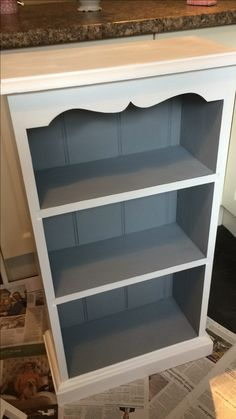 Grey/white bookcase Small Bookcase Makeover, Small White Bookcase, Grey Bookshelves, Pine Bookcase, Painted Bookshelves, Slim Bookcase, Refurbished Bookcase, Refurbished Furniture, Furniture Makeover