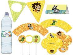Festa Safári Fun - aniverários - chá de bebê - amarelo, verde, azul, laranja Tuty - Arte & Mimos www.tuty.com.br