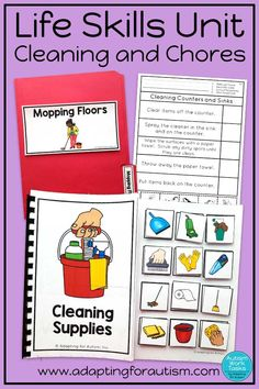 Try these life skills activities for teens and special education classrooms. Supplement your life skills training with these work tasks. Adapted books, file folders, worksheets and clip cards can help your students learn vocabulary and procedures for clea Life Skills Lessons, Life Skills Activities, Life Skills Classroom, Teaching Life Skills, Student Learning, Life Skills Kids, Special Education Activities, Activities For Teens, Autism Activities