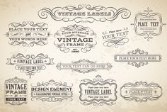 Vector Calligraphic Labels & Banners by FourLeafLover on Creative Market