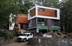 A modern, pre-fab house by LabHaus is under construction in Larchmont, NY