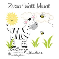 Zebra Wall Mural Decals for baby boy jungle animal nursery or children's safari room decor #decampstudios