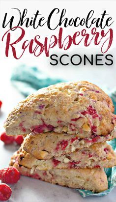 Moist, flaky, and bursting with flavour - these RASPBERRY WHITE CHOCOLATE SCONES are perfect breakfast or brunch! Best served with loved ones and plenty of coffee. Köstliche Desserts, Delicious Desserts, Dessert Recipes, Yummy Food, Plated Desserts, White Chocolate Raspberry Scones, Raspberry Breakfast, Raspberry Scones Recipe Easy, Fresh Raspberry Recipes