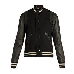 finest selection 8ae60 07468 Saint Laurent Wool-blend and leather teddy jacket ( 2,590) ❤ liked on  Polyvore