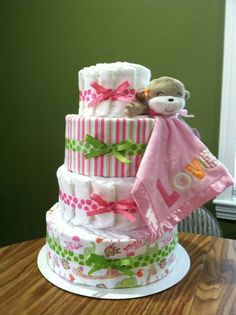 4 Tier Girly Monkey diaper cake by CushaTush on Etsy, $100.00