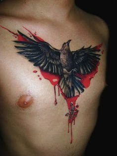 Bird On a Chest Surounded By Blood - http://www.lovely-tattoo.com/bird-on-a-chest-surounded-by-blood/