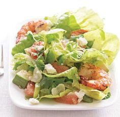 Avocado, Fennel & Grapefruit Salad with Grilled Shrimp