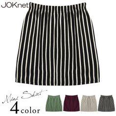 Waist rubber stripe sweat shirt mini-length skirt Lady's bottom miniskirt shortstop length vertical stripes vantage tight box pin-stripe Kor...