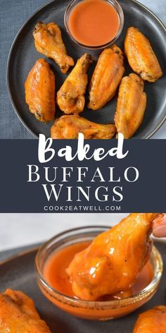 Buffalo chicken wings are a party favorite and a game-day must. These spicy chicken wings are fall off the bone, and they're baked not fried. The trick here is to use a baking sheet lined with a cooling rack so air can circulate around the wings. The skin dries up nicely and the inside stays tender and moist. #bakedbuffalowings #buffalowings #wings #gamedayappetizers #appetizers Baked Buffalo Wings, Buffalo Chicken, Yummy Chicken Recipes, Yum Yum Chicken, Dinner Recipes Easy Quick, Easy Meals, Easy Recipes, Chicken Wings Spicy, Bbq Chicken