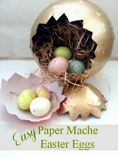 Easy and Elegant Paper Mache Easter Eggs~