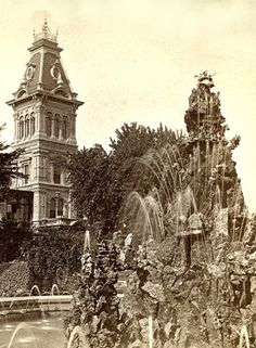 Yesterday's Milwaukee: Mitchell Mansion's Classic Fountain, 1880 Abandoned Castles, Abandoned Mansions, Abandoned Houses, Abandoned Places, Old Houses, Victorian Photos, Victorian Gothic, Abandoned Amusement Parks, Old Trains