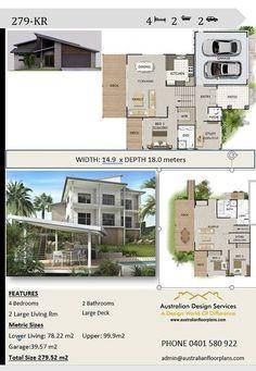 242m2 4 bedrooms 3 bedrooms split level floor plan - 4 bedroom split level floor plans ...