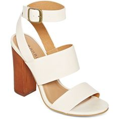Bamboo Embark Chunky Ankle Strap Sandals ($30) ❤ liked on Polyvore featuring shoes, sandals, party shoes, chunky heel shoes, chunky-heel sandals, bamboo shoes and wide shoes