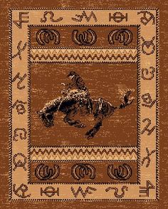 Bucking Bronco Rider Western Area Rug