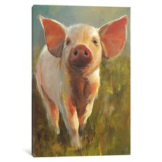 """iCanvas 'Morning Pig' by Cari J. Humphry Canvas Print (depth 1.5"""" - size 18"""" x 12""""), Multi, Size 18"""" x 12"""" x 1.5"""""""