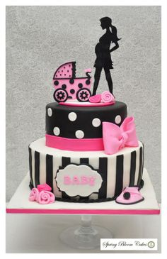 Pink, Black and White baby shower cake