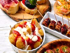 Tapas mix and pinchos food from Spain recipes also pintxos on a white. Latin American Food, Latin Food, Tapas Recipes, Mexican Food Recipes, Yummy Recipes, Tapas Spain, Bacon Wrapped Figs, Fingers Food, Tapas Dishes